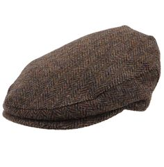 Harris Tweed Herringbone Cap by Stanbury - Brown
