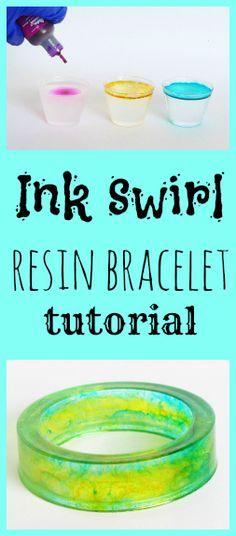 Resin Obsession blog:  DIY ink drop resin bangle bracelet tutorial