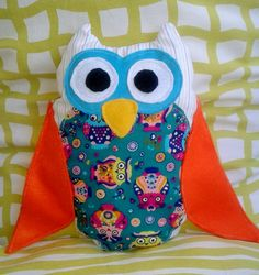 pillow owl with open wings. size X Open Wings, Owls, Cotton Fabric, Pillows, Unique, Handmade, Hand Made, Owl, Cotton Textile