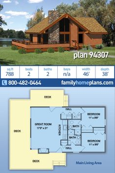 Cabin Style House Plan 94307 with 2 beds, 2 baths – Kamine Bloğ Small Cabin Plans, Cabin House Plans, Cabin Floor Plans, Small House Plans, Small Cabins, Cabin Homes, Log Homes, The Plan, How To Plan