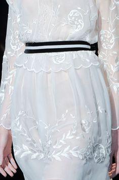 White embroidered dress & bold belt, romantic fashion details // Alberta Ferretti Fall 2013