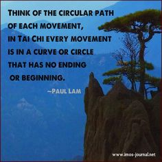 """""""think of a circular path of each movement In Tai Chi every movement is in a curve or circle that has no ending or beginning."""" -Paul Lam"""