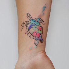 Watercolor sea turtle tattoo
