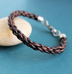 Mens Leather Bracelet Braided with Sterling by LynnToddDesigns, $60.00