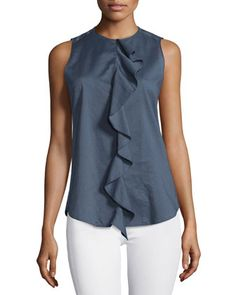 Jastrid+Lawn+Ruffled+Cotton+Top+by+Theory+at+Neiman+Marcus.