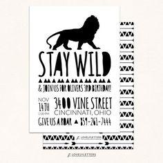 Lion Birthday Invitation / Wild Birthday by LovelyLettersDesign