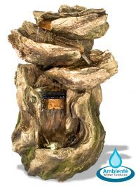 Cherokee Falls Cascading Water Feature with Lights - by Ambienté Cherokee, Tree Stump Table, Cascade Water, Reclaimed Wood Coffee Table, Pine Table, Backyard Water Feature, Wood Logs, Real Wood, Water Features