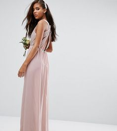 TFNC Tall Wedding Pleated Maxi Dress With Open Back Detail - Pink