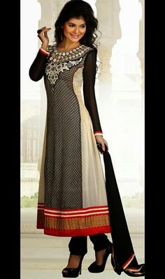 Black and White Georgette Long Churidar Suit Price: Usa Dollar $96, British UK Pound £57, Euro71, Canada CA$104 , Indian Rs5184.