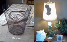waste basket into lamp shade