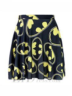 31844ca5bd 1044 Summer Women Plus Size Pleated Mini Skater Skirt Sexy Girl Cheerleader  TuTu Skirt Comics Black The Batman Logo Prints