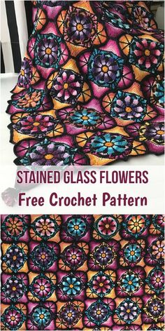 Stained Glass Flowers [Free Crochet Pattern] #crochet #motif #square #freepattern