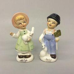 Enterprise Exclusives Canada Boy Girl Holding Axe Rabbits Salt Pepper Shakers | eBay