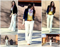 White Bell Bottoms - tapering over-sized jeans at waist, and from upper thigh to knee, leaving fullness at lower leg