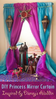 Arabian Nights DIY dresser mirror curtain – Turns your ordinary bedroom mirror into an Arabian princess corner, inspired by Jasmine from Disney's Aladdin. Princess Curtains, Disney Princess Bedroom, Princess Bedrooms, Disney Bedrooms, Aladdin Princess, Arabian Party, Arabian Nights Theme, Arabian Nights Bedroom, Arabian Theme