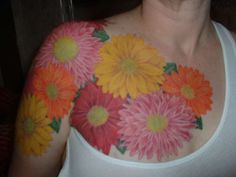 flower chest tattoos for women | Arm/Chest flowers tattoo