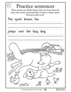 The quick brown fox jumps over the lazy dog. Your child gets practice writing this sentence and coloring in the picture.