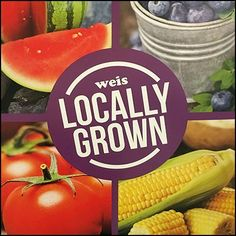 Beyond local pride and economic support, this Locally Grown Produce Floorstand Sign suggests freshness as an added advantage Big Peach, Shop Local, Watermelon, Retail, Purple, Color, Colour, Purple Stuff, Retail Merchandising