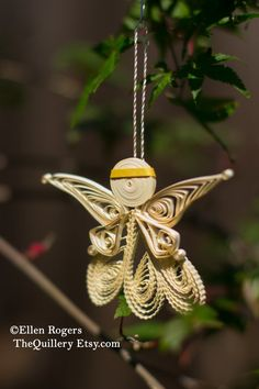 Quilled Cream and Gold Angel Christmas Ornament or Decoration