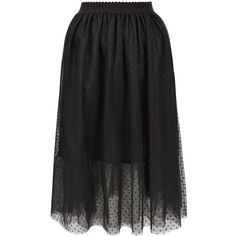 Black Spot Print Mesh Tulle Midi Skater Skirt ($24) ❤ liked on Polyvore featuring skirts, polka dot skirt, polka dot tulle skirt, circle skirt, knee length tulle skirt and polka dot midi skirt