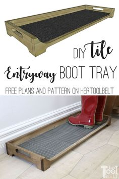 DIY Tile Boot Tray - Her Tool Belt - Build a DIY Boot Tray with a tile base for the entryway. It's a simple project that is great for - Diy Wood Projects, Easy Projects, Home Projects, Easy Woodworking Projects, Woodworking Classes, Woodworking Videos, Diy Tuiles, Diy Bedroom Decor, Diy Home Decor
