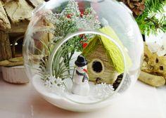 Wintery Cabin in the Snow Terrarium with by BeachCottageBoutique, $52.00