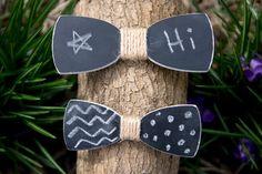 Chalkboard Wooden Bow Tie Wood Bowtie Chalk by KnotKnotOutfitters