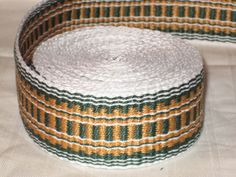 White, green, and gold hand-woven inkle trim (over 14 feet)