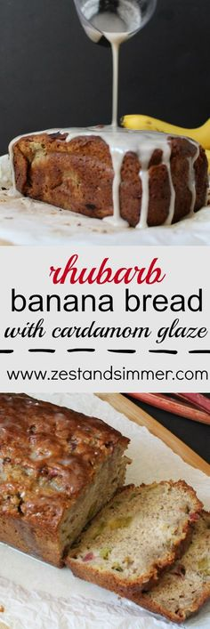 Rhubarb Banana Bread with Cardamom Glaze - Zest & Simmer - - This banana bread is moist, sweet with a hint of tartness and the cardamom glaze really makes this one stand out in a crowd! This is a perfect way to use up your remaining rhubarb. Rhubarb Desserts, Rhubarb Recipes, Banana Bread Recipes, Just Desserts, Delicious Desserts, Dessert Recipes, Yummy Food, Rhubarb Rhubarb, Banana Rhubarb Bread Recipe