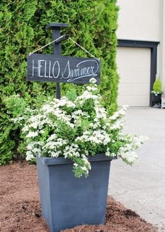 Create this simple DIY wooden sign and holder to add some personality to your outdoor space and increase your home's curb appeal. The holder also works perfectly for hanging lanterns or other outdoor solar light and can be customized to any size you need. Wooden Diy, Wooden Signs, Outdoor Signs, Outdoor Decor, Wooden Box Centerpiece, Summer Centerpieces, Diy Hanging, Hanging Lanterns, Rustic Flowers