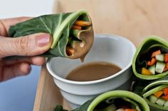 Chard wraps - this dipping sauce sounds delicious!