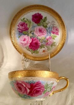 French Limoges Cup Saucer Hand Painted Roses