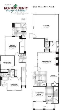 Voscana floor plan 1 new townhomes in carlsbad ca by for Single story townhouse plans