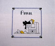 Kats By Kelly - Mini Kat April Office Temp Completed Finished Cross Stitch Ready to Frame