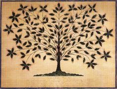 Hannah Cohoon's classic Shaker drawing, Tree of Light, painted around 1845 at the Hancock Shaker Village in Pittsfield
