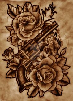 Gun With Roses by BigAma