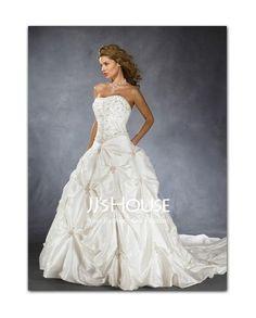 Amazing A-Line/Princess Sweetheart Chapel Train Taffeta Wedding Dress with Embroidery  Beadwork (002001712) FAVORITE:)