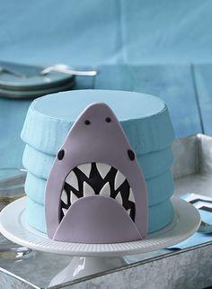 Make a Shark Cake with blue buttercream and a giant fondant shark!