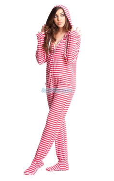 Red Candy Stripes Hooded Footed Pajamas features: hoodie, thumb holes, kangaroo style front pockets and a media pocket. 100% polar fleece, preshrunk, fully machine washable. See size chart for full sizing details $49.99