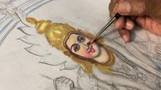 How to Draw and Paint face of Goddess - by Artist S.Murugakani Antique Jewellery Designs, Tanjore Painting, Tangled, Sketches, Antiques, Drawings, Face, Artist, Paintings