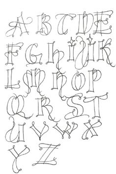 """""""Kersal Exemplars"""" - Potentially a good Zentangle alphabet. Doodle Lettering, Creative Lettering, Lettering Styles Alphabet, Typography Alphabet, Lettering Ideas, Lettering Tutorial, Tattoo Painting, Doodles, Calligraphy Letters"""