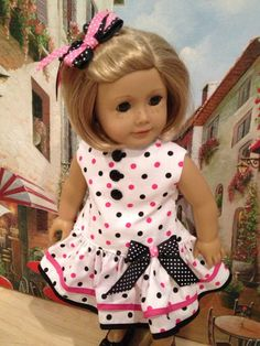 American Girl Doll Clothes - Pink and Black Polkadot Style Party Dress American Girl Outfits, American Girl Dress, American Doll Clothes, Sewing Doll Clothes, Girl Doll Clothes, Doll Clothes Patterns, Girl Dolls, Doll Patterns, Ag Clothing