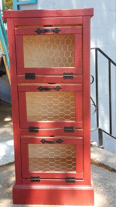 Vegetable Bin, 3 Door, Kitchen Pantry Organizer and Storage, Handmade Wooden, Potato and Onion Bin, Rustic Country,   Bread Bin, Home Decor