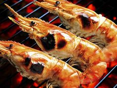 Spice-dusted grilled prawns with cocktail sauce