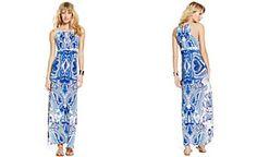 INC International Concepts Printed Beaded Halter Maxi Dress