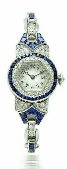Vintage Watches Collection : Illustration Description An Art Deco Sapphire and Diamond Ladies Watch, by Oscar Heyman Bijoux Art Deco, Art Deco Jewelry, Fine Jewelry, Jewelry Design, Diamante Art Deco, Antique Jewelry, Vintage Jewelry, Art Deco Watch, Do It Yourself Jewelry