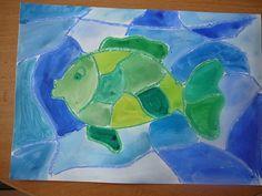 Na čtvrtku si voskovkama namalujeme kapra a rozdělíme různě čárami jeho i okolí. Jednotlivé části kapra vymalováváme různými odstíny zelené a vodu různými odstíny modré. Painting, Art, Art Background, Painting Art, Kunst, Paintings, Performing Arts, Painted Canvas, Drawings