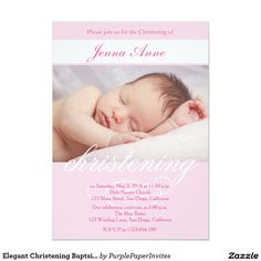 "Elegant Christening Baptsim Invitation for Girls. 5"" X 7"" Invitation Card"