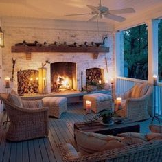 Back Porch Fireplace- this wold be perfect for my future house in North Carolina! Future House, Style At Home, Outdoor Rooms, Outdoor Living, Indoor Outdoor, Outdoor Seating, Outdoor Lounge, Outdoor Patios, Outdoor Kitchens
