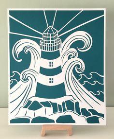 Paper art Paper cut Lighthouse in a storm Paper от CarolineArgo